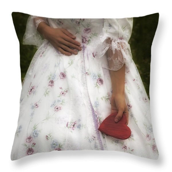Woman With A Heart Throw Pillow by Joana Kruse