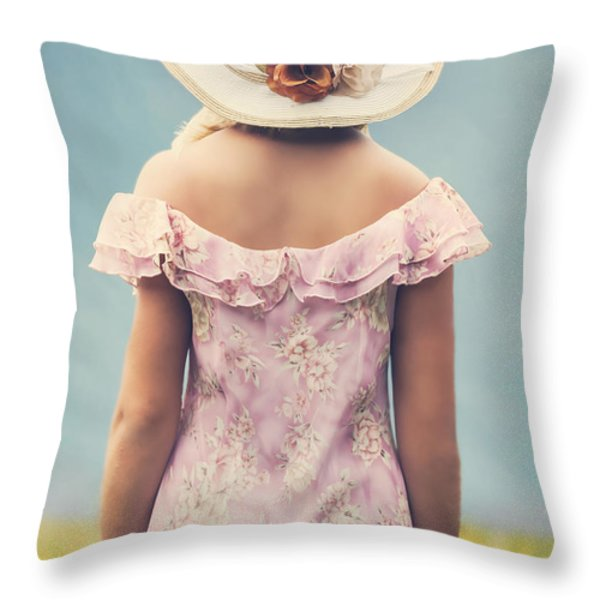 Woman With Hat Throw Pillow by Joana Kruse