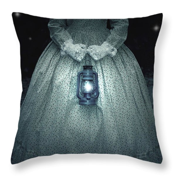 woman with lantern Throw Pillow by Joana Kruse