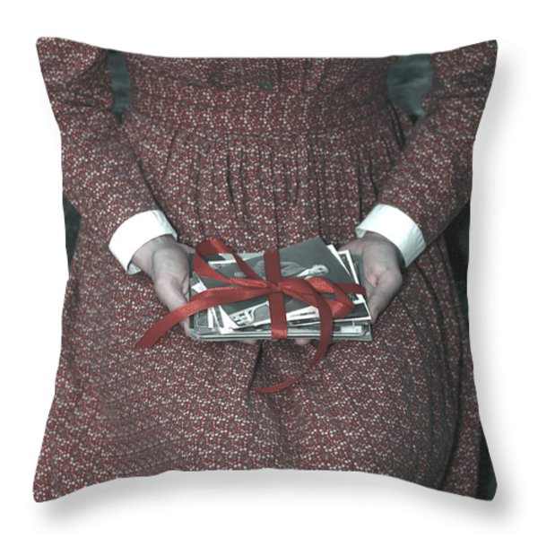Woman With Old Photos Throw Pillow by Joana Kruse
