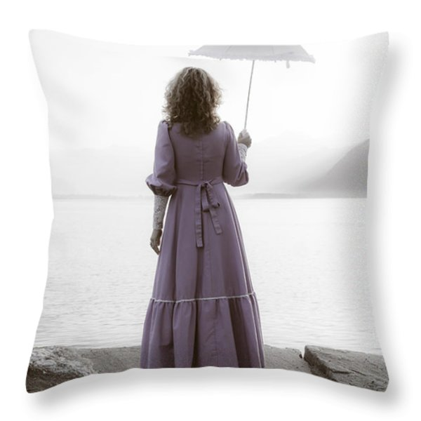 woman with parasol Throw Pillow by Joana Kruse