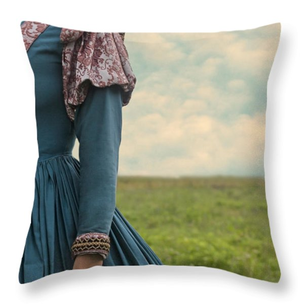Woman With Renaissance Dress Throw Pillow by Joana Kruse