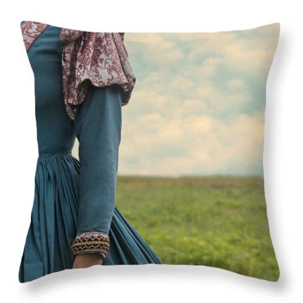 woman with renaissance dress Throw Pillow by Joana Kruse