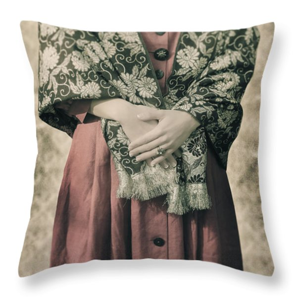 woman with shawl Throw Pillow by Joana Kruse