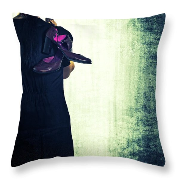 Woman With Shoes Throw Pillow by Joana Kruse