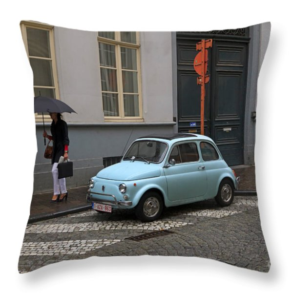 Woman With Umbrella Throw Pillow by Louise Heusinkveld