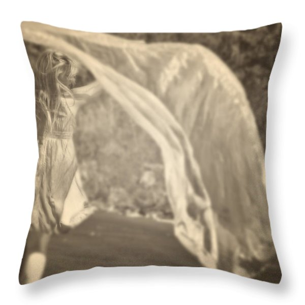 Woman With Veil Throw Pillow by Joana Kruse