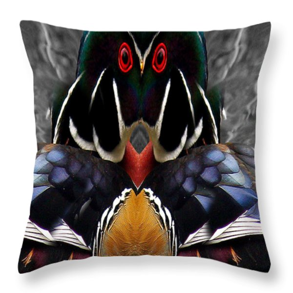Wood Owl Throw Pillow by Jean Noren