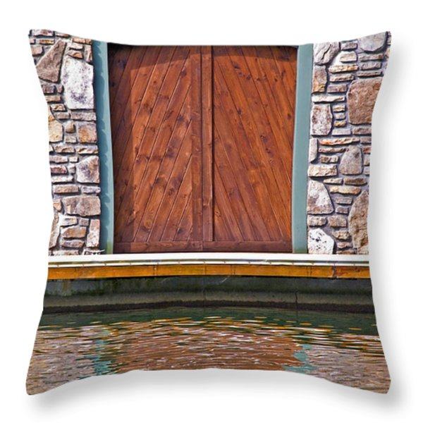Wooden Door Throw Pillow by Susan Leggett