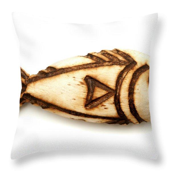 Wooden fish Throw Pillow by Fabrizio Troiani