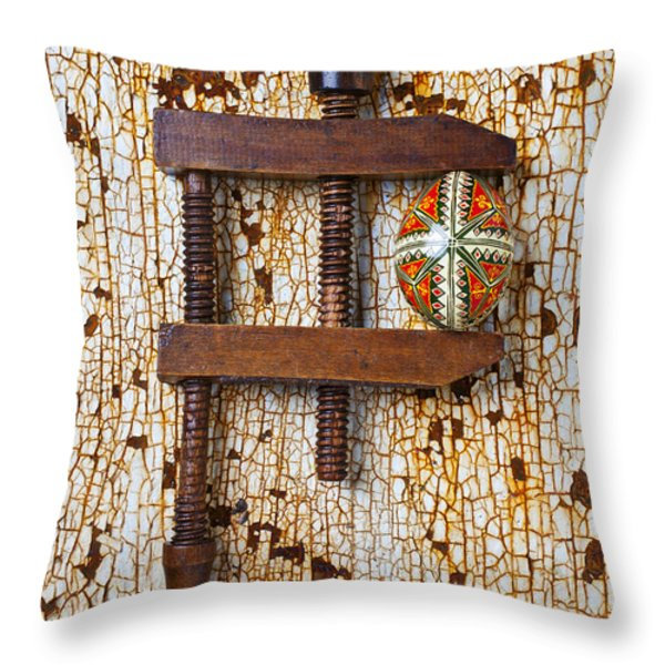 Wooden Vce And Easter Egg Throw Pillow by Garry Gay
