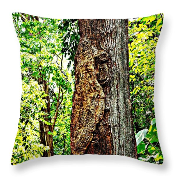 Woodpecker Tree Throw Pillow by Piety Dsilva