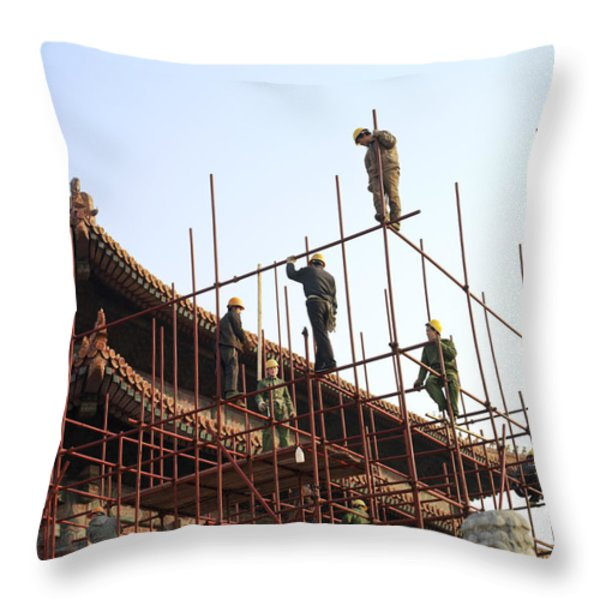Workers Climb Scaffolding On The Palace Throw Pillow by Justin Guariglia