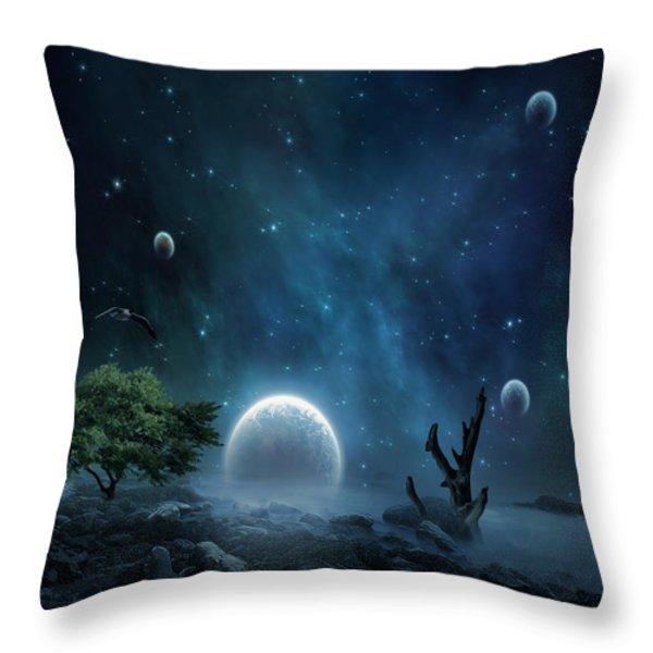 World Beyond Throw Pillow by Lourry Legarde