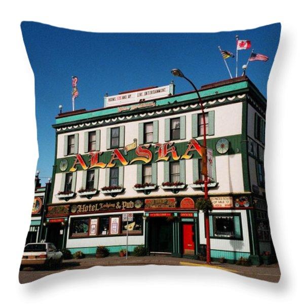 World Famous Alaska Hotel Throw Pillow by Juergen Weiss