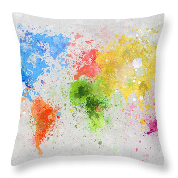 world map painting Throw Pillow by Setsiri Silapasuwanchai