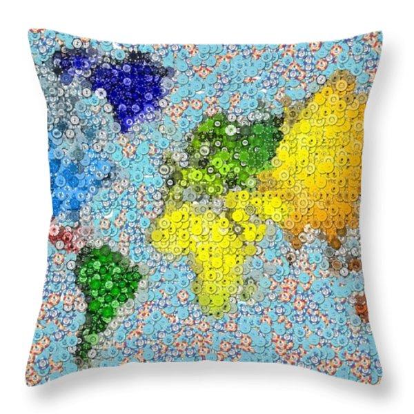 World Map Poker Chips Mosaic Throw Pillow by Paul Van Scott