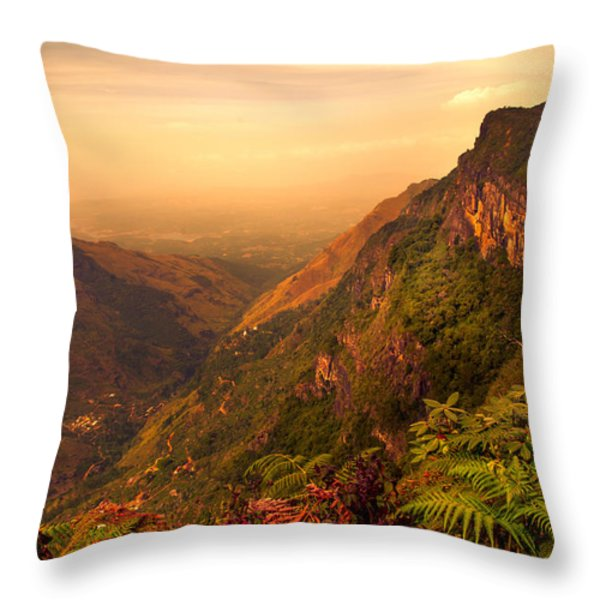 Worlds End. Horton Plains National Park. Sri Lanka Throw Pillow by Jenny Rainbow