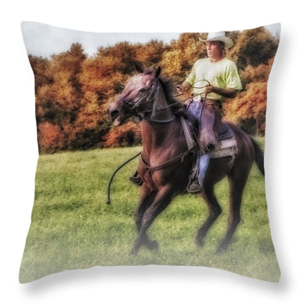 Wrangler and Horse Throw Pillow by Susan Candelario