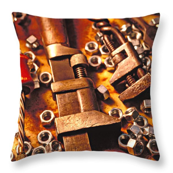 Wrench Tools And Nuts Throw Pillow by Garry Gay