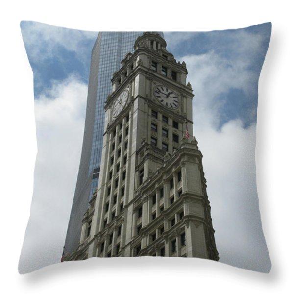 Wrigley Building Throw Pillow by Arlene Carmel