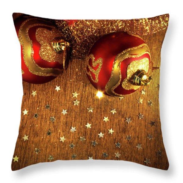 Xmas Balls Throw Pillow by Carlos Caetano