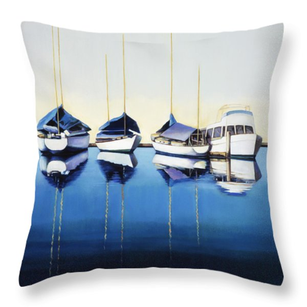 Yacht Harbor Throw Pillow by Han Choi - Printscapes