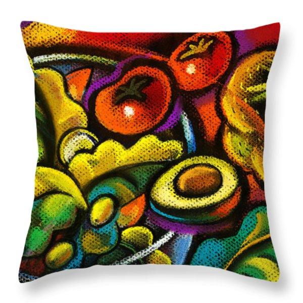 Yammy Salad Throw Pillow by Leon Zernitsky