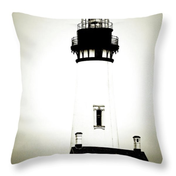 Yaquina Head Light - Haunted Oregon Lighthouse Throw Pillow by Christine Till