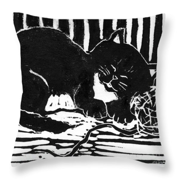Yarn Cat  Block Print Throw Pillow by Ellen Miffitt