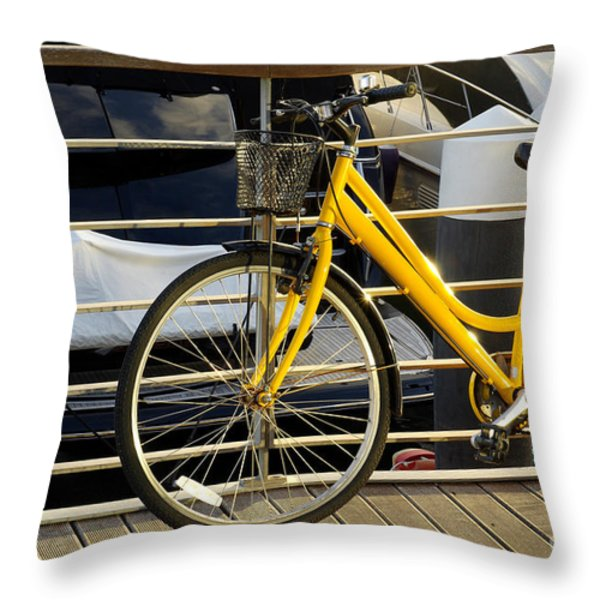 Yellow Bicycle Throw Pillow by Carlos Caetano