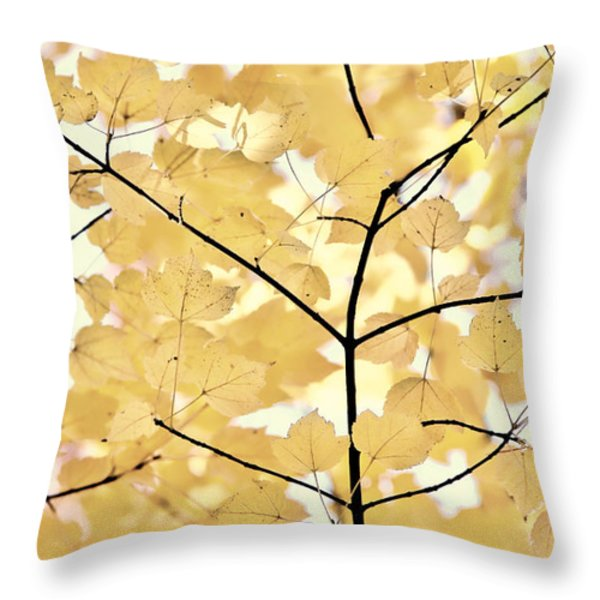Yellow Brown Leaves Melody Throw Pillow by Jennie Marie Schell