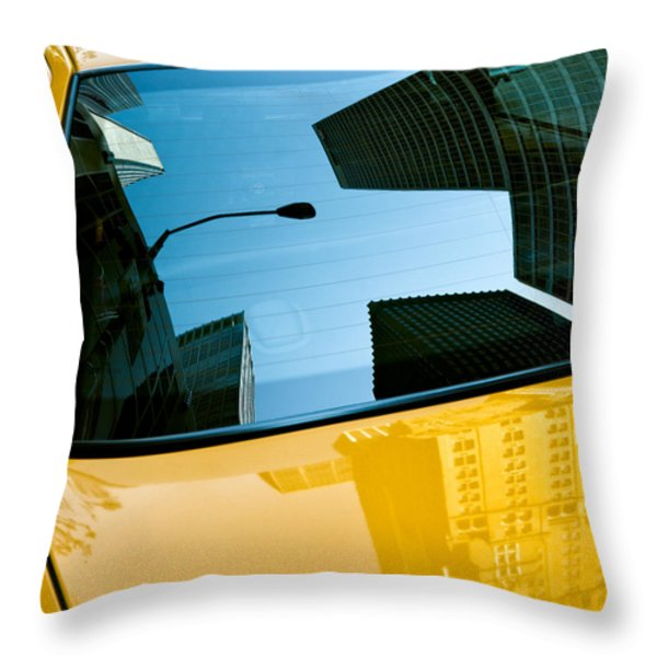 Yellow Cab Big Apple Throw Pillow by Dave Bowman