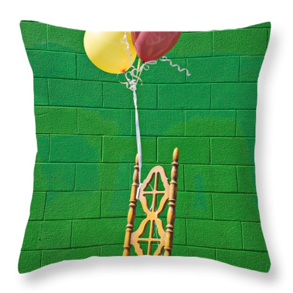 Yellow Cahir With Balloons Throw Pillow by Garry Gay