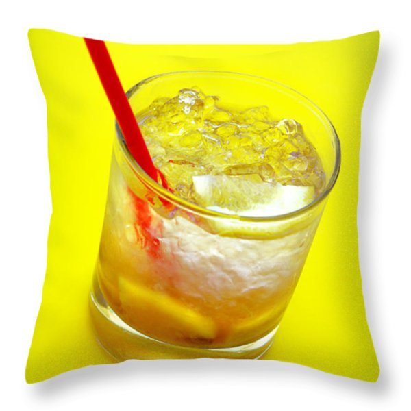 Yellow Caipirinha Throw Pillow by Carlos Caetano