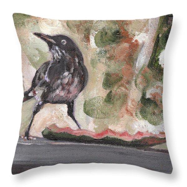 Yellow Eyed Bird Throw Pillow by Sarah Lynch