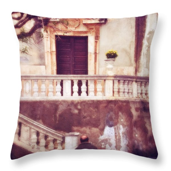 Yellow Flowers In A Vase In Taormina Sicily Throw Pillow by Silvia Ganora