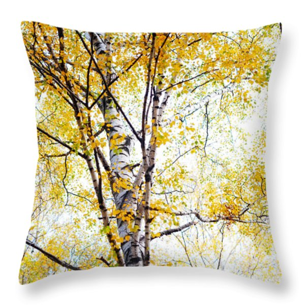Yellow Lace Of The Birch Foliage  Throw Pillow by Jenny Rainbow