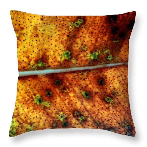 Yellow Leaf With Green Spots And Black Dots Throw Pillow by Jennifer  Bright