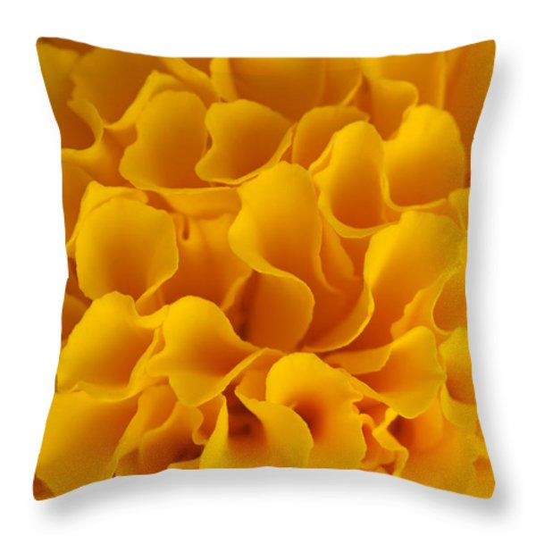 Yellow Marigold Macro View Throw Pillow by Atiketta Sangasaeng