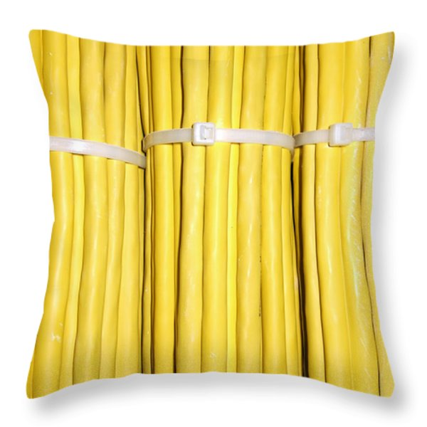 Yellow Network Cables Throw Pillow by Matthias Hauser