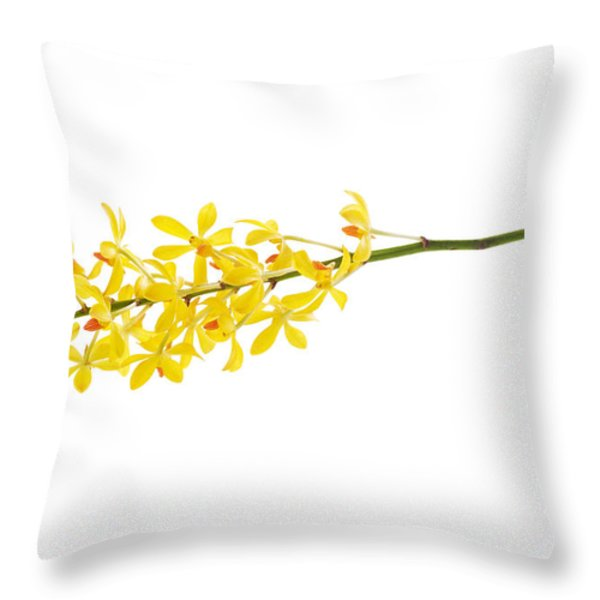 yellow orchid bunch Throw Pillow by ATIKETTA SANGASAENG