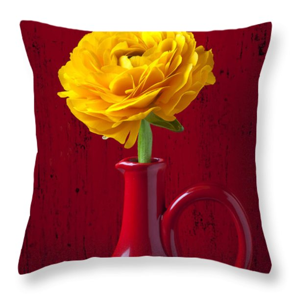 Yellow Ranunculus In Red Pitcher Throw Pillow by Garry Gay