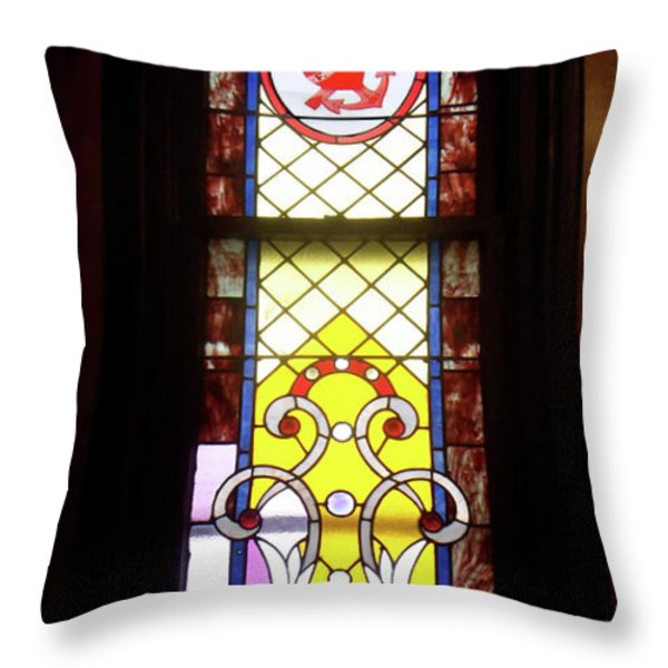 Yellow Stained Glass Window Throw Pillow by Thomas Woolworth