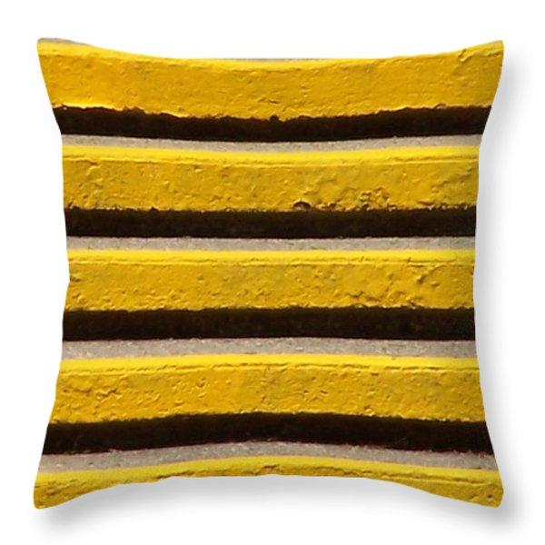 Yellow Steps Throw Pillow by Steven Huszar