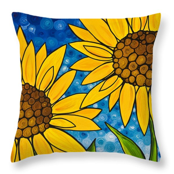 Yellow Sunflowers Throw Pillow by Sharon Cummings