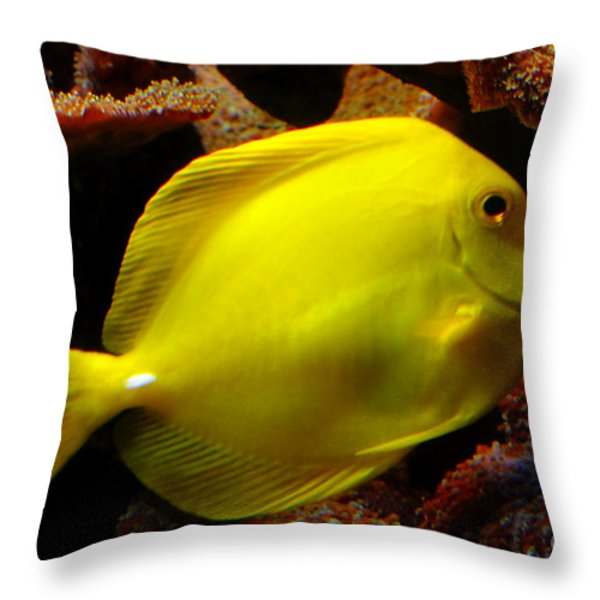 Yellow Tang Throw Pillow by Pravine Chester