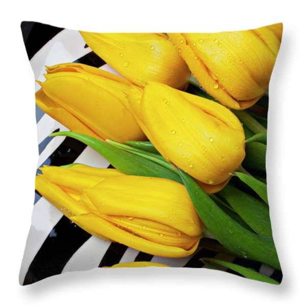 Yellow Tulips On Striped Plate Throw Pillow by Garry Gay
