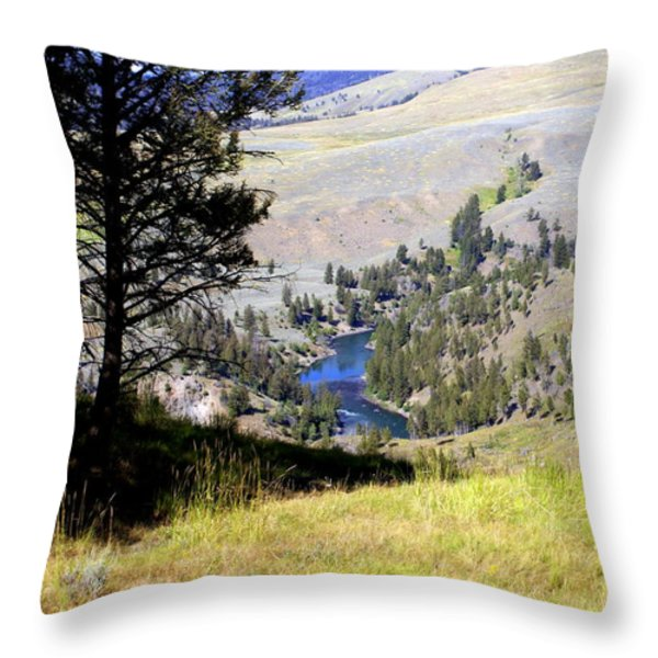 Yellowstone River Vista Throw Pillow by Marty Koch