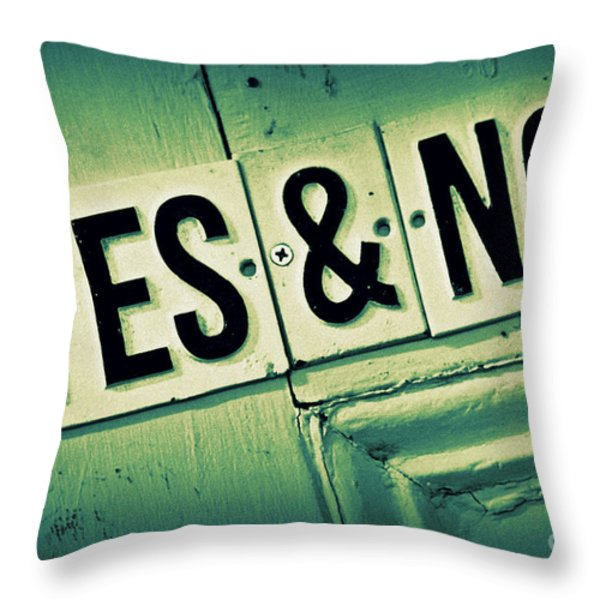 Yes And No 2 Throw Pillow by Perry Webster